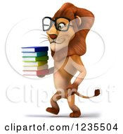 Clipart Of A 3d Bespectacled Lion Walking With A Stack Of Books 2 Royalty Free Illustration
