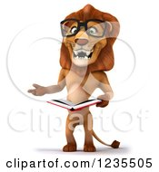 Clipart Of A 3d Bespectacled Lion Reading A Book Royalty Free Illustration