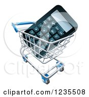 Clipart Of A 3d Calculator In A Shopping Cart Royalty Free Vector Illustration