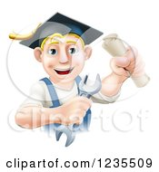 Poster, Art Print Of Happy Blond Worker Graduate Holding A Wrench And Degree