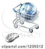 Clipart Of A 3d Earth Globe In A Shopping Cart Connected To A Computer Mouse Royalty Free Vector Illustration by AtStockIllustration
