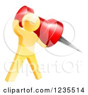 Clipart Of A 3d Gold Man Holding A Pin Royalty Free Vector Illustration