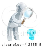 Clipart Of A 3d Silver Man Searching For Answers With A Magnifying Glass Royalty Free Vector Illustration