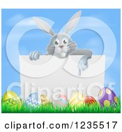 Gray Bunny Rabbit Pointing Down To A Sign With Grass And Easter Eggs