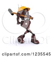 Poster, Art Print Of 3d Red Android Construction Robot Demolishing With A Sledgehammer