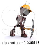 Clipart Of A 3d Red Android Construction Robot Using A Pick Axe Royalty Free Illustration