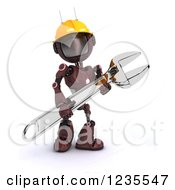 Clipart Of A 3d Red Android Construction Robot With A Spanner Wrench 5 Royalty Free Illustration