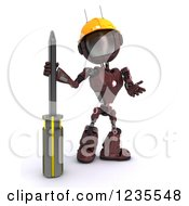 Clipart Of A 3d Red Android Robot With A Screwdriver Royalty Free Illustration