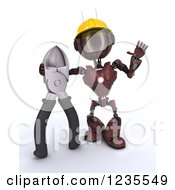 Clipart Of A 3d Red Android Construction Robot With Pliers Royalty Free Illustration