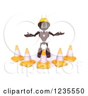 Clipart Of A 3d Red Android Construction Robot With Cones Royalty Free Illustration