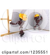 Clipart Of 3d Red Android Construction Robots Hanging Drywall Royalty Free Illustration