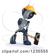 Poster, Art Print Of 3d Blue Android Construction Robot Demolishing With A Sledgehammer 3