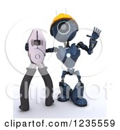 Clipart Of A 3d Blue Android Construction Robot With Flat Nose Pliers Royalty Free Illustration