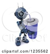 Clipart Of A 3d Blue Android Robot With A Giant Fountain Soda Royalty Free Illustration