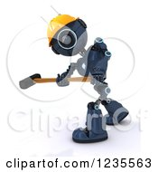 Poster, Art Print Of 3d Blue Android Construction Robot Demolishing With A Sledgehammer 2