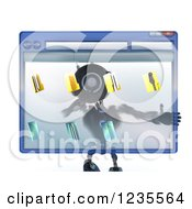 Clipart Of A 3d Blue Android Robot Behind A Computer File Window Royalty Free Illustration