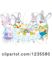 Clipart Of A Gray Rabbit Family Around Easter Eggs And A Cake Royalty Free Vector Illustration