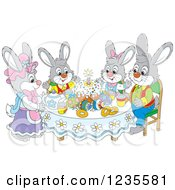 Clipart Of A Rabbit Family Around Easter Eggs And A Cake Royalty Free Vector Illustration