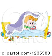 Clipart Of A Red Haired Boy Playing With Toys In His Bed Royalty Free Vector Illustration