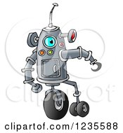 Clipart Of A Robot With Wheels Royalty Free Illustration