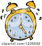 Clipart Of A Ringing Alarm Clock Royalty Free Vector Illustration