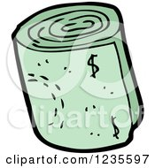 Clipart Of A Rolled Wad Of Cash Royalty Free Vector Illustration