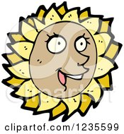 Clipart Of A Happy Sunflower Royalty Free Vector Illustration by lineartestpilot