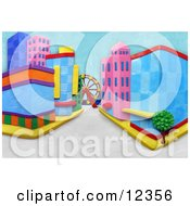 Poster, Art Print Of 3d City Street Scene With A Ferris Wheel