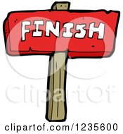 Clipart Of A Red Finish Sign Royalty Free Vector Illustration by lineartestpilot