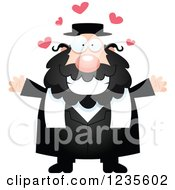 Clipart Of A Chubby Jewish Rabbi With Open Arms And Hearts Royalty Free Vector Illustration by Cory Thoman