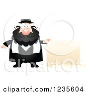 Clipart Of A Chubby Jewish Rabbi With A Scroll Sign Royalty Free Vector Illustration by Cory Thoman