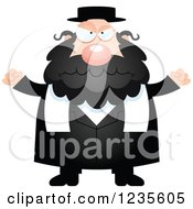 Clipart Of A Mad Chubby Jewish Rabbi Royalty Free Vector Illustration by Cory Thoman