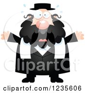 Clipart Of A Scared Screaming Chubby Jewish Rabbi Royalty Free Vector Illustration by Cory Thoman