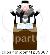 Clipart Of An Enthusiastic Chubby Rabbi At The Pulpit Royalty Free Vector Illustration