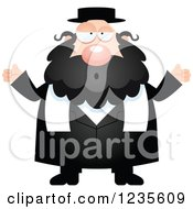 Clipart Of A Careless Shrugging Chubby Jewish Rabbi Royalty Free Vector Illustration by Cory Thoman