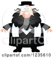 Clipart Of A Happy Smiling Chubby Jewish Rabbi Royalty Free Vector Illustration by Cory Thoman