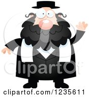 Clipart Of A Friendly Waving Chubby Jewish Rabbi Royalty Free Vector Illustration by Cory Thoman
