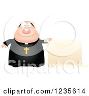 Clipart Of A Chubby Priest Holding A Scroll Sign Royalty Free Vector Illustration by Cory Thoman