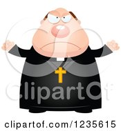 Clipart Of A Mad Chubby Priest Royalty Free Vector Illustration by Cory Thoman