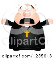 Clipart Of A Scared Screaming Chubby Priest Royalty Free Vector Illustration by Cory Thoman