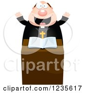Clipart Of An Enthusiastic Chubby Priest At The Pulpit Royalty Free Vector Illustration