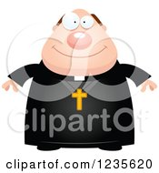 Clipart Of A Happy Smiling Chubby Priest Royalty Free Vector Illustration
