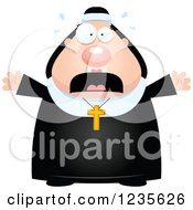 Clipart Of A Scared Screaming Chubby Nun Royalty Free Vector Illustration by Cory Thoman