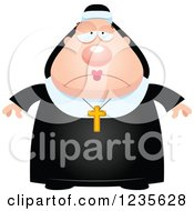 Clipart Of A Depressed Chubby Nun Royalty Free Vector Illustration by Cory Thoman