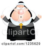 Clipart Of A Careless Shrugging Chubby Nun Royalty Free Vector Illustration by Cory Thoman