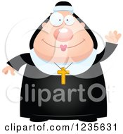 Clipart Of A Friendly Waving Chubby Nun Royalty Free Vector Illustration by Cory Thoman