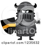 Clipart Of A Tough Black Knight Ready For Battle Royalty Free Vector Illustration