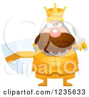 Clipart Of A Mad Chubby King Knight Ready For Battle Royalty Free Vector Illustration