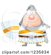 Clipart Of A Happy Chubby Knight Royalty Free Vector Illustration