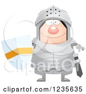 Clipart Of A Happy Chubby Armoured Knight Royalty Free Vector Illustration